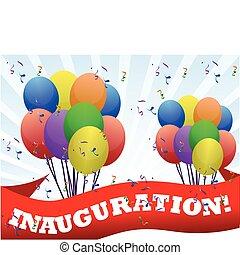 inauguration, bannière, ballons