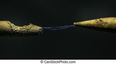 incandescent, électrique, coup, électricité, lightning., macro, câble, gros plan