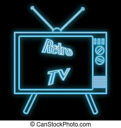 incandescent, 70s, tube, beau, résumé, vecteur, clair, vieux, inscription, retro, 80s, kinescope, espace, noir, 90s, enseigne, arrière-plan., copie, icône, tv, néon