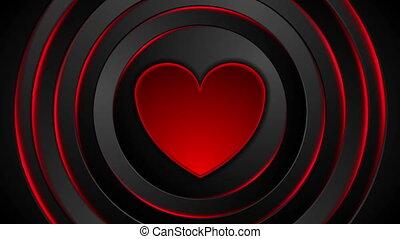 incandescent, coeur, vidéo, animation, cercles, battement, rouges