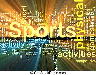 incandescent, fond, activités sports, concept
