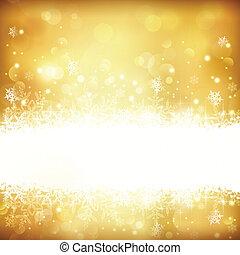 incandescent, fond, lumières, noël, doré, étoiles, flocons neige