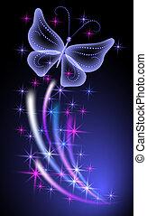 incandescent, fond, papillons