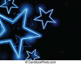 incandescent, néon, étoiles, fond