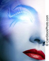 incandescent, oeil, futuriste, cyber, figure