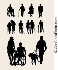 incapacités, personnes agées, silhouette