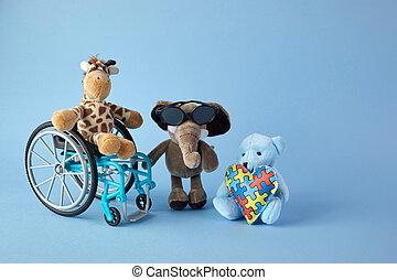 incapacités, personnes, signe bleu, jour, international, jouets, disabilities., fauteuil roulant, arrière-plan., différent