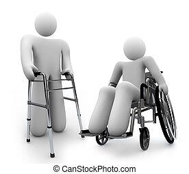 incapacités, -, une, handicapé, personne, marcheur, wth, fauteuil roulant