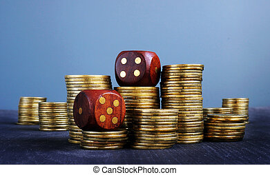 incertitude, financier, risk., pièces, business., commerce, dices., piles
