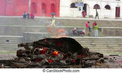 incinération, mort, brûlé, cadavre, népal, brûler, katmandou, pashupatinath, temple, cérémonie