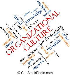 incliné, concept, mot, culture, organisationnel, nuage