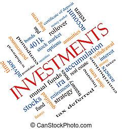 incliné, concept, mot, investissements, nuage