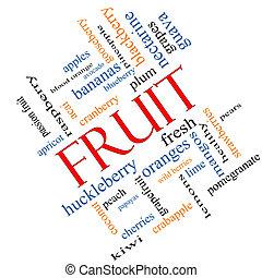 incliné, concept, mot, nuage, fruit