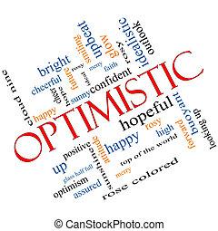 incliné, concept, mot, optimiste, nuage