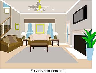 incliné, histoire, salle, vivant, maison, moderne, deux
