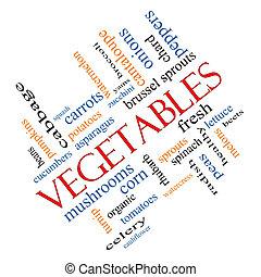 incliné, légumes, concept, mot, nuage
