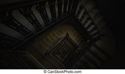 inclinaison, descendre, bois, mener, vue, obscurité, aérien, escalier, brun, vieux, rustique, darkness., cage escalier