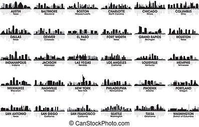 incroyable, skyline., 30, cities., usa, ensemble, ville