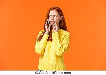 indécis, lèvre, fond, décision, ordre, orange, incertain, livraison, sceptique, toucher, avoir, roux, serious-looking, dur, songeur, pendant, froncer sourcils, femme, conversation, nourriture, faire, téléphone
