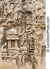 inde, arjunas, -, pénitence, mahabalipuram