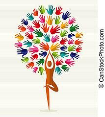 inde, yoga, arbre, mains