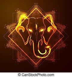 india., éléphant, silhouette, résumé, tête, religion, vector.
