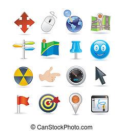 indicateurs, ensemble, icône