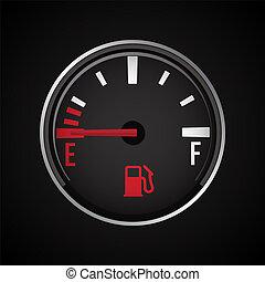 indicator., essence, illustration, vecteur, jauge, carburant, icon.