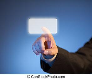 indice, touchscreen, bouton, virtuel, urgent, doigt, résumé