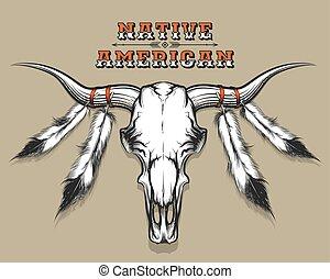 indien, crâne, taureau