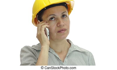 indifférent, hardhat, femme, téléphone