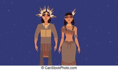 indigenus, animation, ethnicité, caractères, couple
