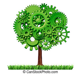 industrie, arbre, business, reussite