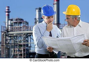 industrie, deux, architecte, équipe, compétence, ingénieur