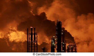 industrie, fumée, nuit