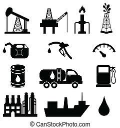 industrie, huile, ensemble, icône