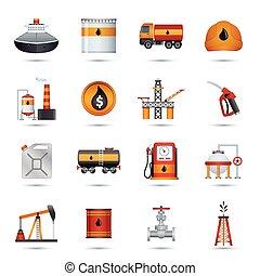 industrie, huile, icônes