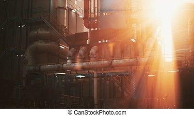 industrie, raffinerie, coucher soleil, huile, usine
