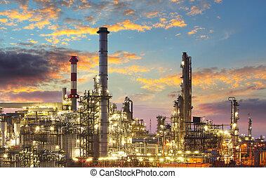industrie, raffinerie, -, crépuscule, essence, huile