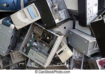 industrie, recycler, matériel informatique, bureau