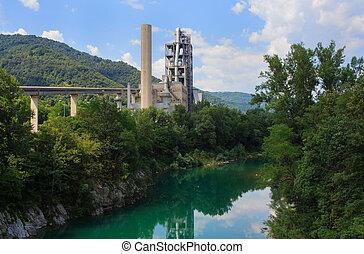 industrie, rivière, suivant