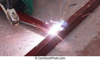industrie, travail, métal, construire, soudeur, structure