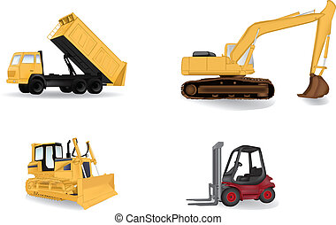 industrie, vecteur, machines