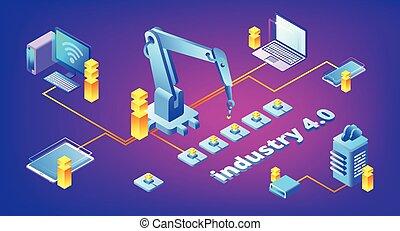industrie, vecteur, technologie, 4.0, illustration