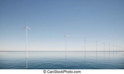 industrie, vent, technologie, construction, générateurs, mer, ferme, avenir