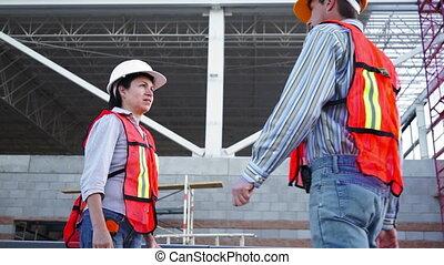 industriel, angle, entrer, bas, pourparlers, mâle
