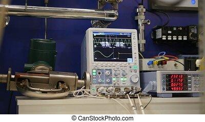 industriel, appareil, oscilloscope, -, équipement, électronique