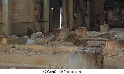 industriel, cassé, colonnes