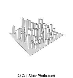 industriel, city., town., résumé, illustration, horizon, vecteur, paysage