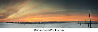 industriel, coloré, ciel, zone., matin, levers de soleil